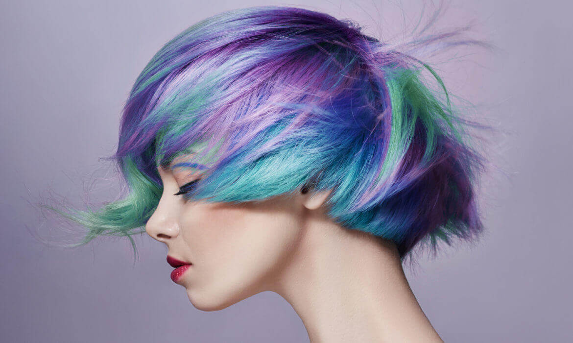 girl with blue green and purle hair