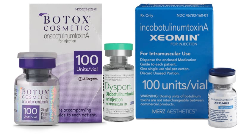Botox Dysport Xeomin Packaging With Vials