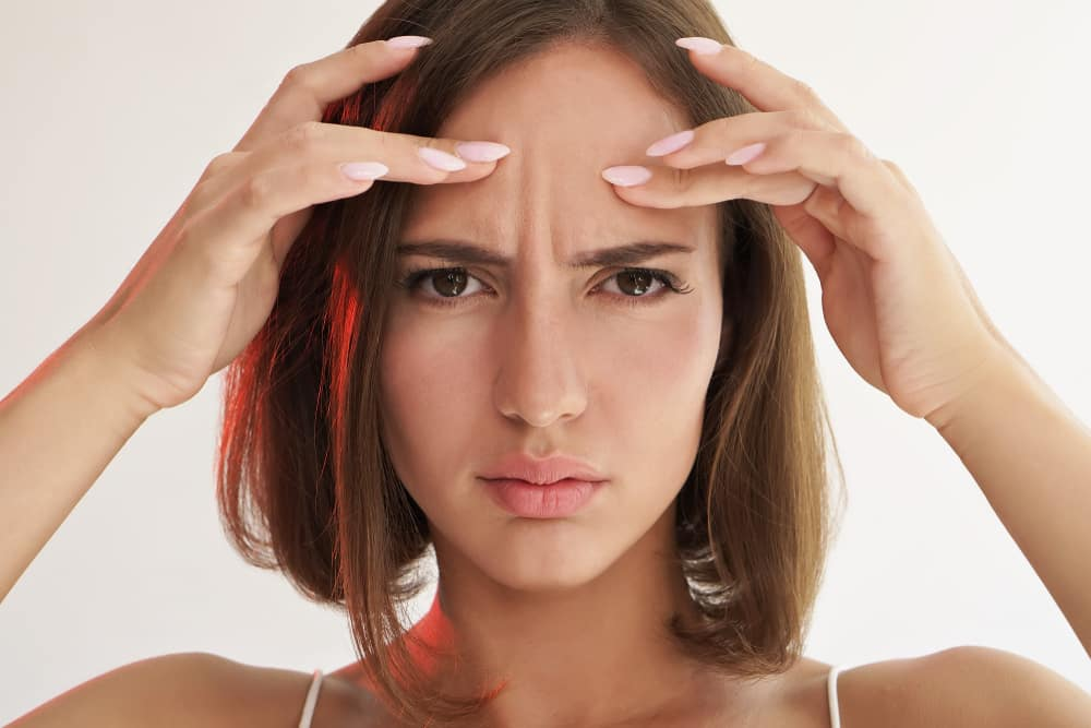 Young Woman Frown Lines Cosmetic Injectables